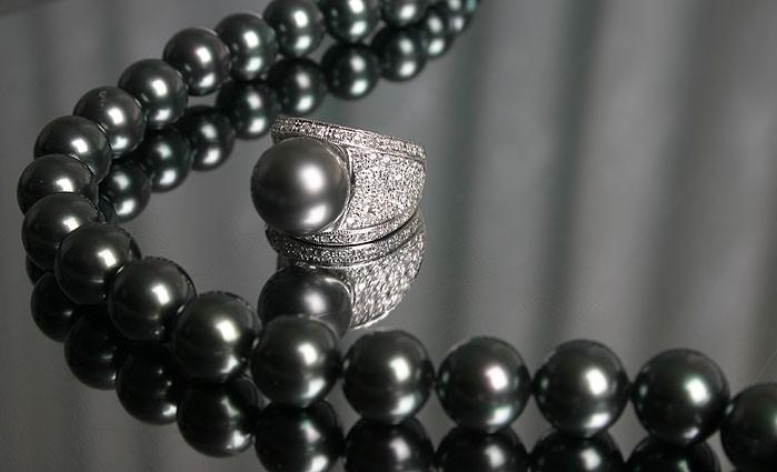 mm천연흑진주와 98개의 천연다이아로 세팅된 반지, 11mm흑진주 비드목걸이